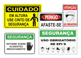 Placa de sinalização de segurança